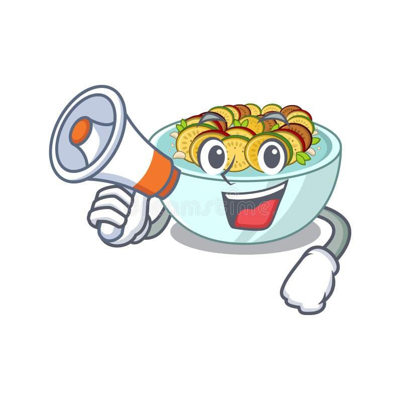Με megaphone ratatouille είναι μαγειρευμένος στο τηγάνι μασκότ απεικόνιση αποθεμάτων