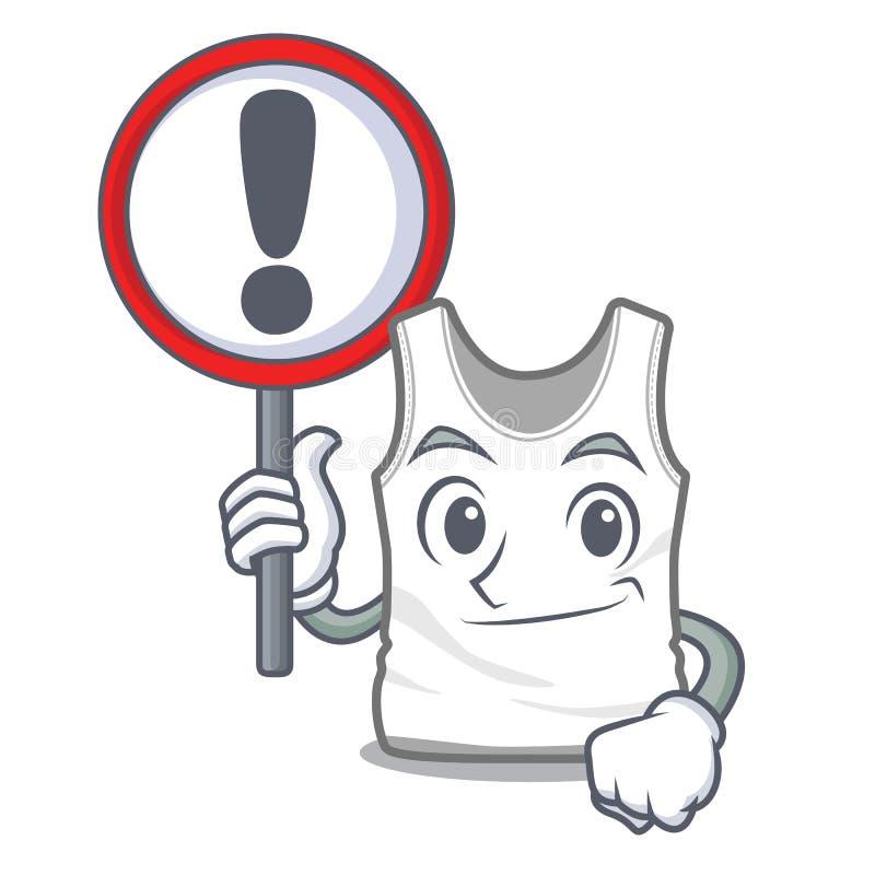 Με undershirt σημαδιών σε μια μορφή μασκότ διανυσματική απεικόνιση