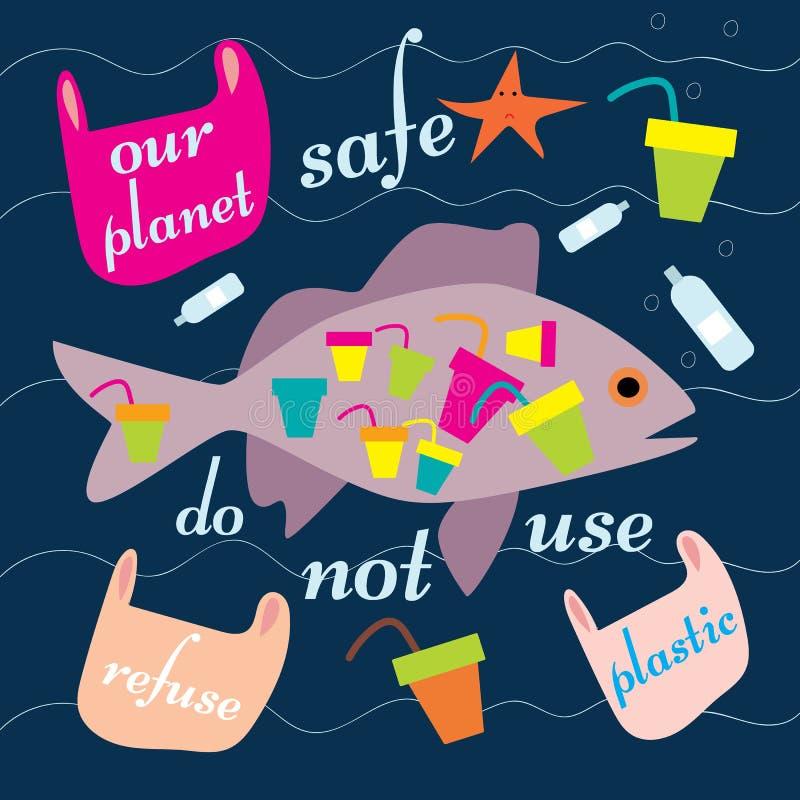 Μηά ψάρια αποβλήτων r Διανυσματική έννοια Απεικόνιση ανακύκλωσης Μειώστε, επαναχρησιμοποιήστε, ανακυκλώστε τα απόβλητα διανυσματική απεικόνιση