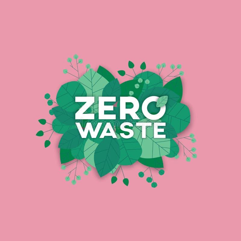 Μηδέν διανυσματικό πρότυπο συμβόλων αποβλήτων με το κείμενο στα πράσινα φύλλα Σημάδι του οικολογικού οργανικού τρόπου ζωής, προστ απεικόνιση αποθεμάτων
