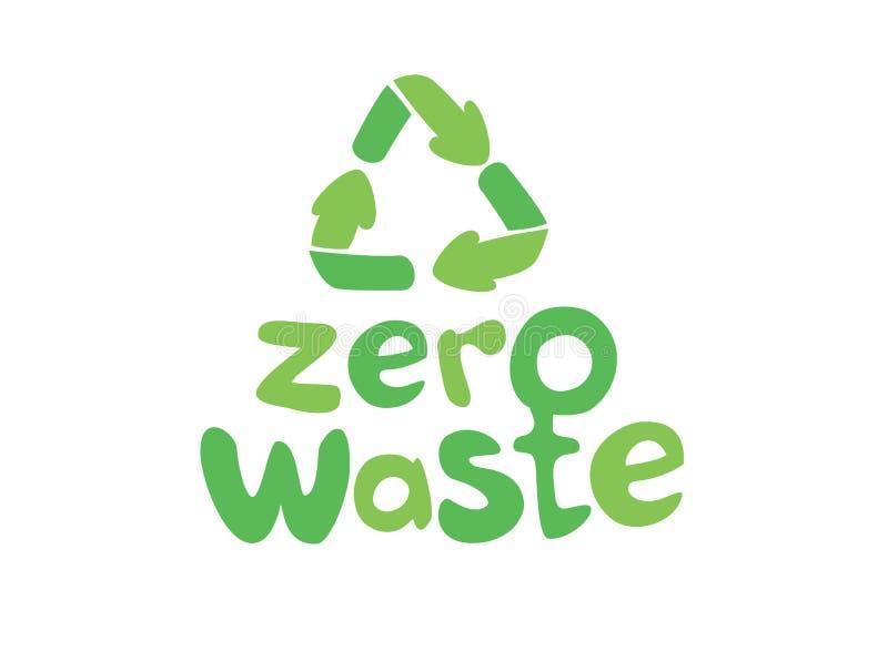 Μηδέν σύμβολο κειμένων αποβλήτων με την ανακύκλωση του σημαδιού διανυσματική απεικόνιση