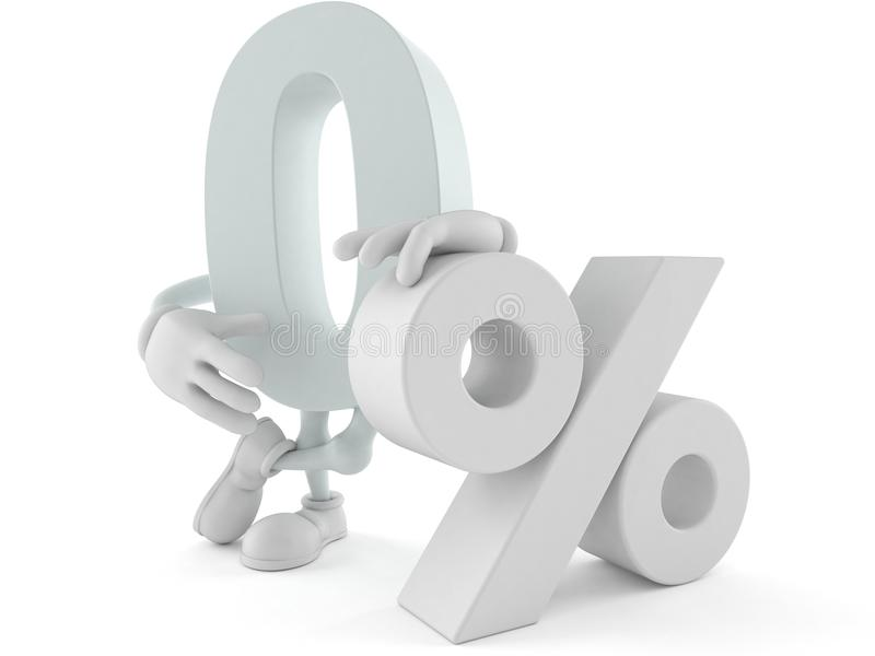 Μηδέν χαρακτήρας με το σύμβολο τοις εκατό ελεύθερη απεικόνιση δικαιώματος
