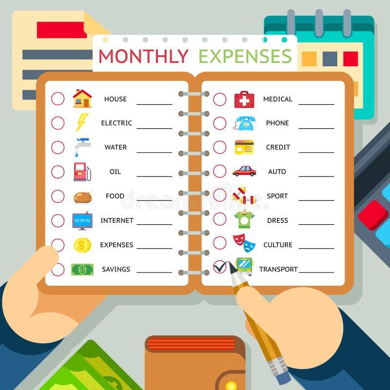 Μηνιαία δαπάνες, δαπάνες και εισοδηματικό διάνυσμα απεικόνιση αποθεμάτων