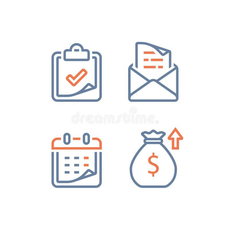 Μηνιαία δόση πληρωμής δανείου, οικονομικό ημερολόγιο, ετήσια έσοδα, μακροπρόθεσμες επένδυση αξίας και επιστροφή, χρονικό διάστημα διανυσματική απεικόνιση