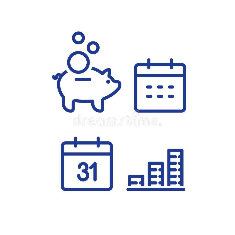 Μηνιαία πληρωμή, οικονομικό ημερολόγιο, ετήσια έσοδα, piggy λογαριασμός ταμιευτηρίου τραπεζών, επιστροφή χρημάτων, μακροπρόθεσμη  διανυσματική απεικόνιση