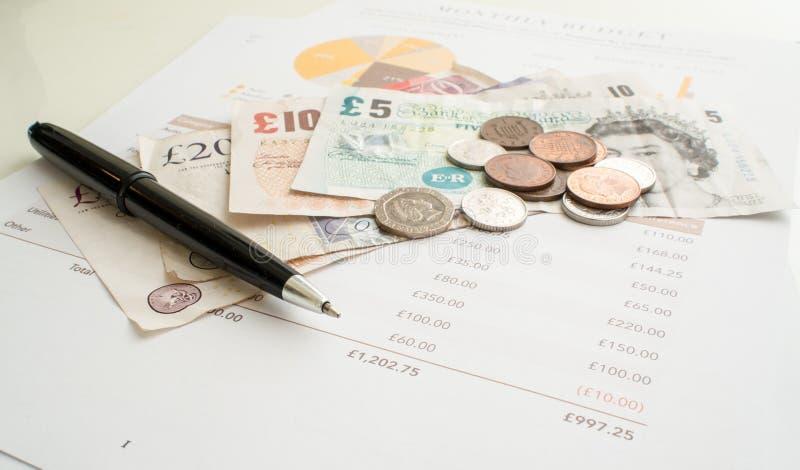 Μηνιαίες δαπάνες που προϋπολογίζουν, βρετανική λίρα αγγλίας στοκ εικόνες