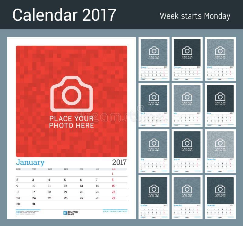 Μηνιαίος ημερολογιακός αρμόδιος για το σχεδιασμό τοίχων για το έτος του 2017 12 μήνες Διανυσματικό πρότυπο τυπωμένων υλών σχεδίου ελεύθερη απεικόνιση δικαιώματος