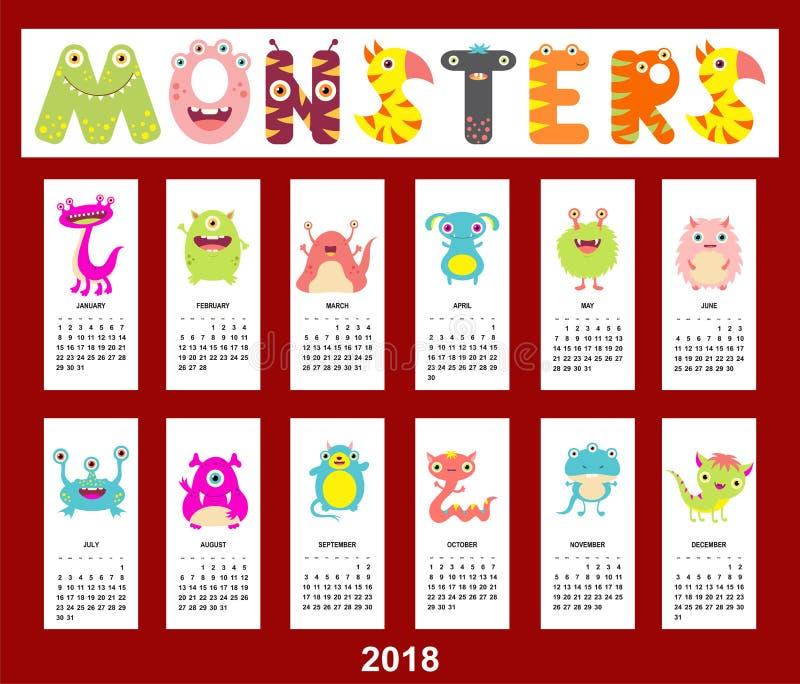Μηνιαίο ημερολόγιο 2018 με τα χαριτωμένα τέρατα ελεύθερη απεικόνιση δικαιώματος