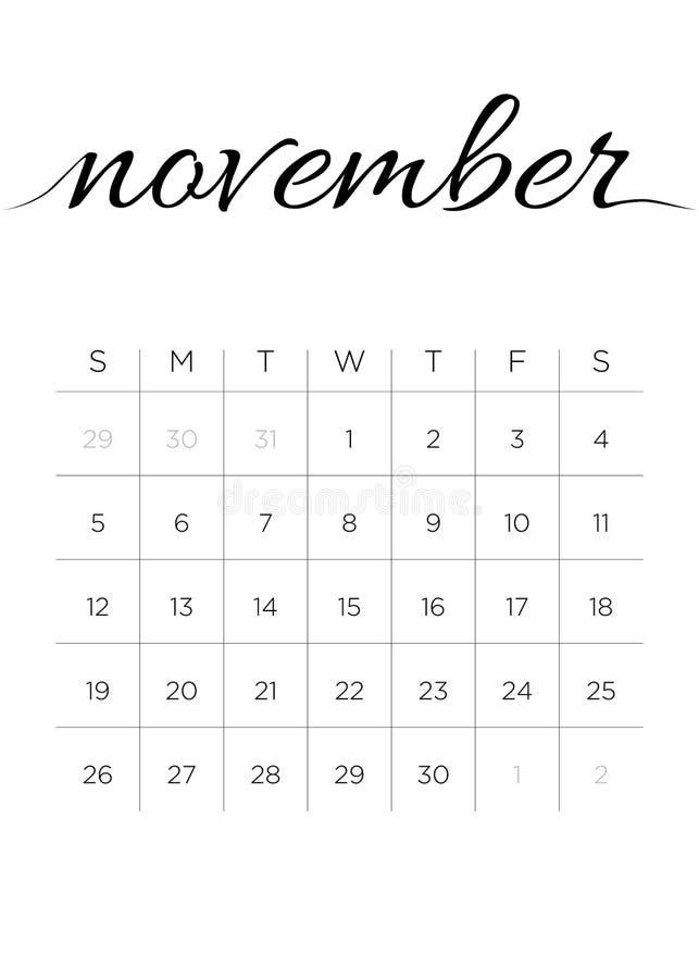 Μηνιαίο ημερολογιακό το Νοέμβριο του 2017 διανυσματική απεικόνιση