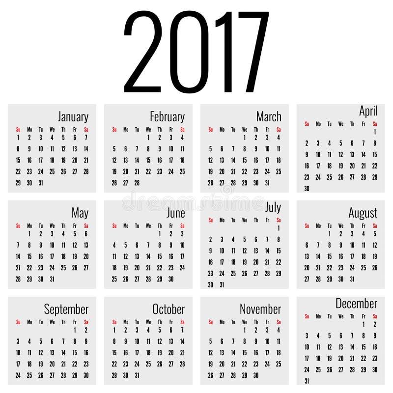 Μηνιαίο ημερολόγιο για το 2017 διανυσματική απεικόνιση