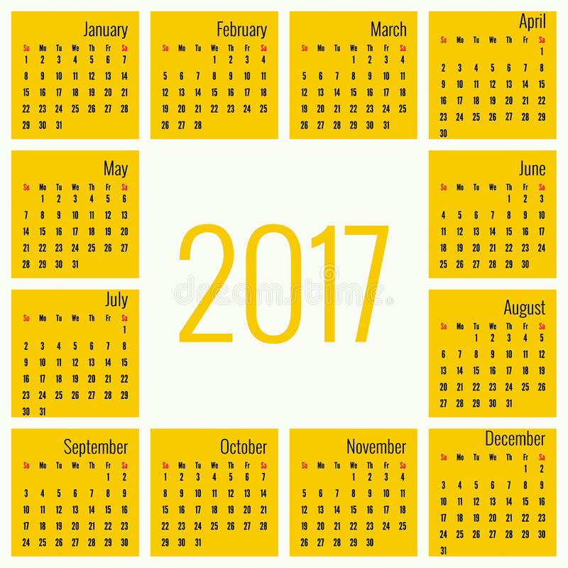 Μηνιαίο ημερολόγιο για το 2017 απεικόνιση αποθεμάτων
