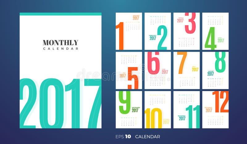 Μηνιαίο ημερολόγιο 2017 τοίχων δρύινο διάνυσμα προτύπων κορδελλών φύλλων δαφνών συνόρων απεικόνιση αποθεμάτων
