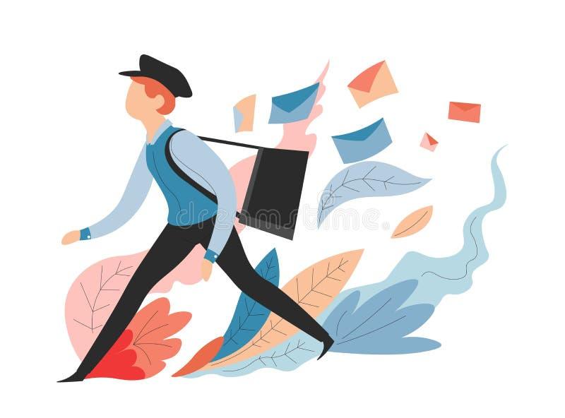 Μηνύματα υπηρεσιών παράδοσης και ταχυδρόμος ή mailman ταχυδρομείου με την τσάντα απεικόνιση αποθεμάτων