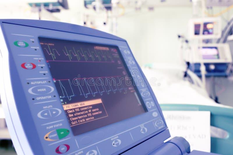 Μηνύτορας καρδιών σε ένα δωμάτιο νοσοκομείων. στοκ εικόνα