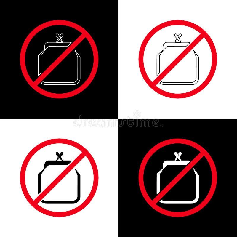 Μην αγοράστε τίποτα ημέρα Κοινωνική έννοια γεγονότος Γραμμική γραμμή, τέχνη γραμμών Πορτοφόλι στον κύκλο strikethrough 4 επιλογές ελεύθερη απεικόνιση δικαιώματος