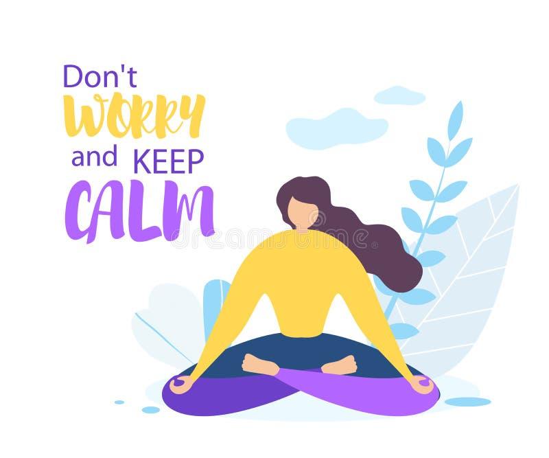 Μην ανησυχήστε την ήρεμη φύση Meditate κοριτσιών συντηρήσεων υπαίθρια απεικόνιση αποθεμάτων