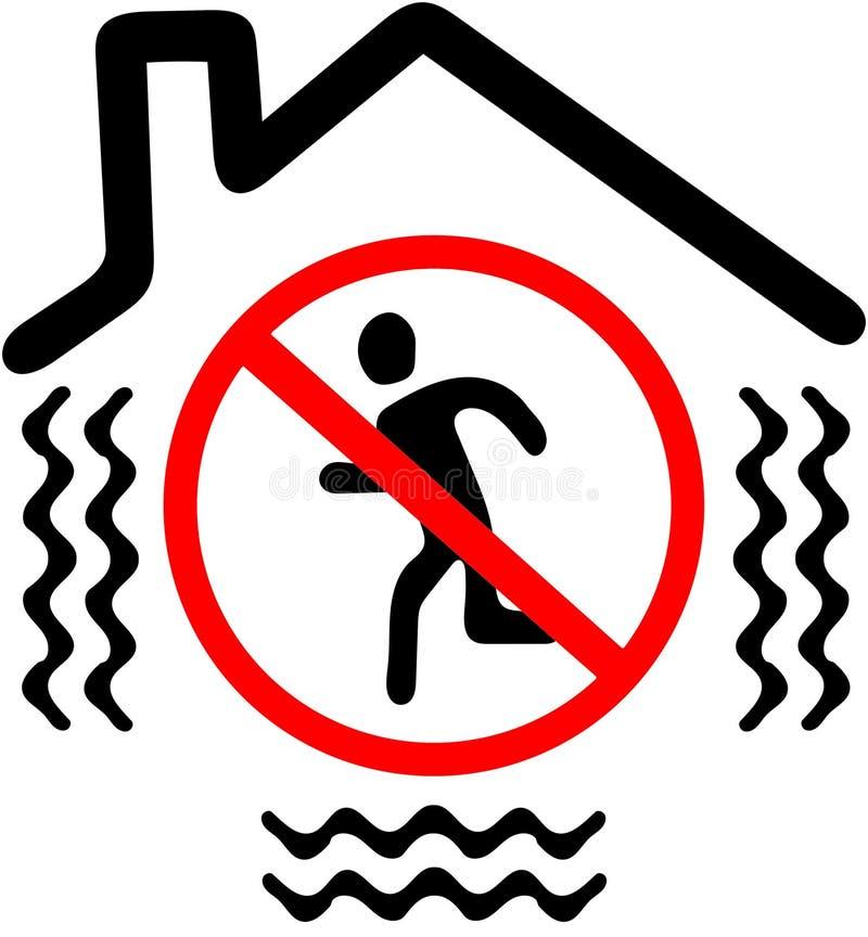 Μην βγείτε ενώ σεισμός Κόκκινο σημάδι συμβόλων προειδοποίησης απαγόρευσης στο άσπρο υπόβαθρο ελεύθερη απεικόνιση δικαιώματος