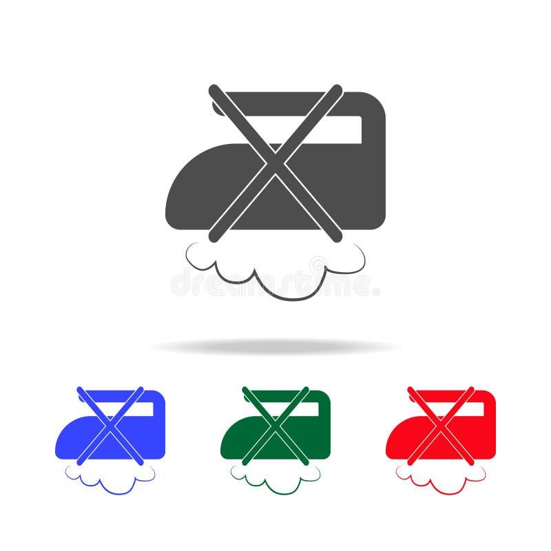 μην βράστε το εικονίδιο στον ατμό Στοιχεία της πλύσης στα πολυ χρωματισμένα εικονίδια Γραφικό εικονίδιο σχεδίου εξαιρετικής ποιότ απεικόνιση αποθεμάτων