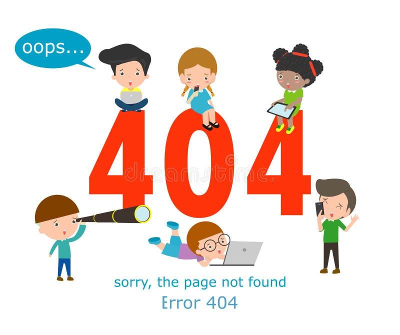 μην βριαλμένη σελίδων 404 λάθους έννοια, παιδιά που χρησιμοποιεί τα lap-top που έχουν τα προβλήματα με τον ιστοχώρο διανυσματική απεικόνιση