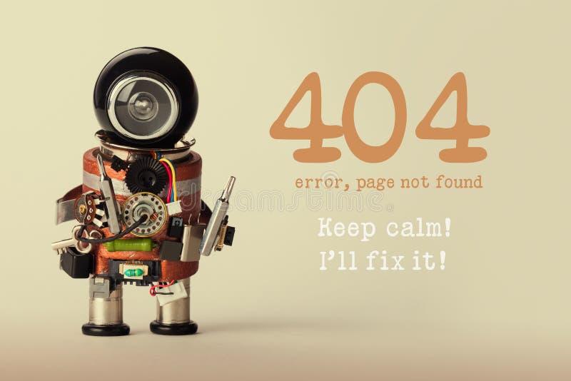 Μην βριαλμένη σελίδων πρότυπο για τον ιστοχώρο Ο επισκευαστής παιχνιδιών ρομπότ με το μήνυμα προειδοποίησης κατσαβιδιών και 404 λ στοκ φωτογραφία με δικαίωμα ελεύθερης χρήσης