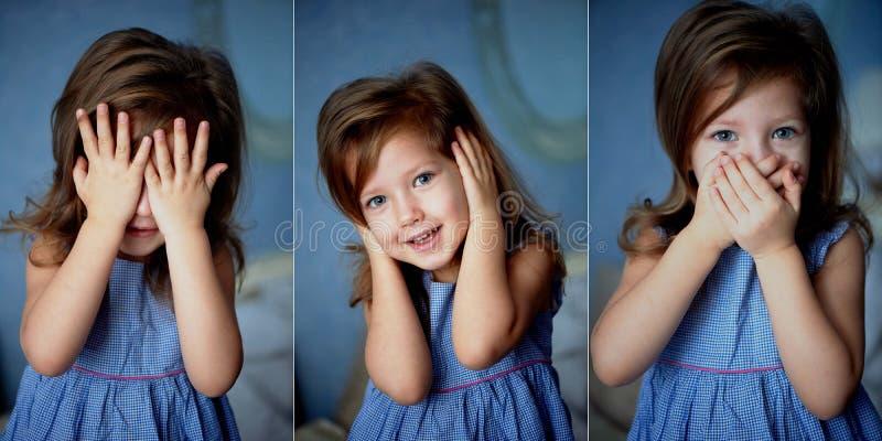 Μην δείτε κανένα κακό, ακούστε, μιλήστε Μωρό 3 έτη στοκ φωτογραφία