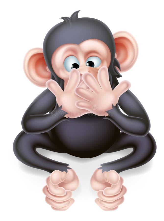 Μην μιλήστε κανέναν κακό πίθηκο κινούμενων σχεδίων ελεύθερη απεικόνιση δικαιώματος