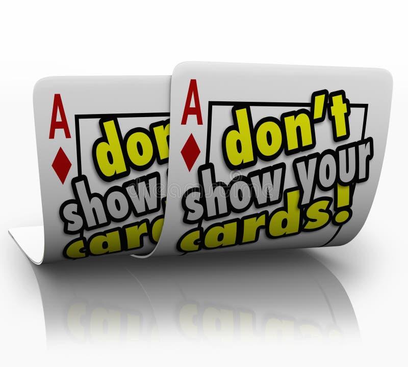 Μην παρουσιάστε στη πονηριά διαπραγμάτευσης στρατηγικής καρτών σας πονηρό μυστικό διανυσματική απεικόνιση