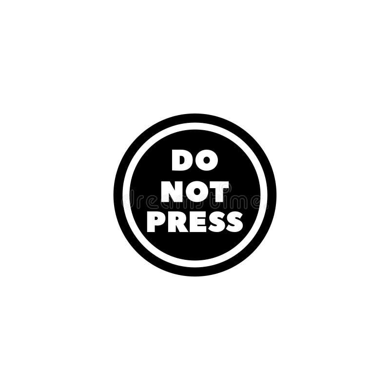 Μην πιέστε το επίπεδο διανυσματικό εικονίδιο κουμπιών ελεύθερη απεικόνιση δικαιώματος