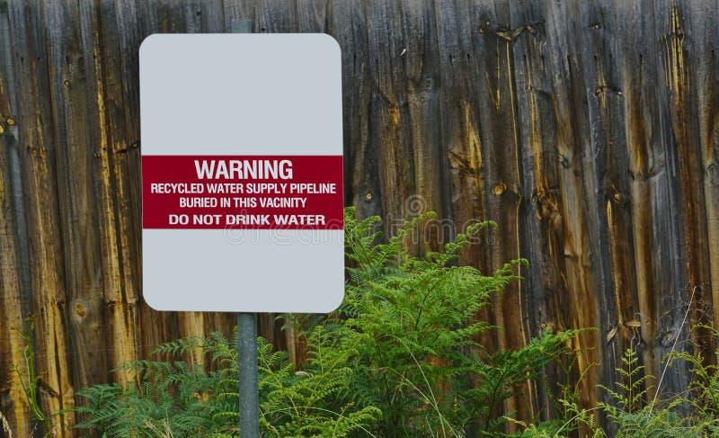 Μην πιείτε το σημάδι νερού νερού στοκ εικόνα