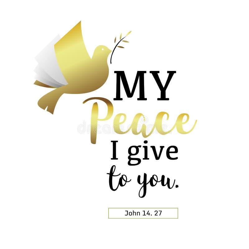 Μην φοβηθείτε την ειρήνη μου που σας δίνω σε το χριστιανικό χέρι που γράφει Bibl διανυσματική απεικόνιση
