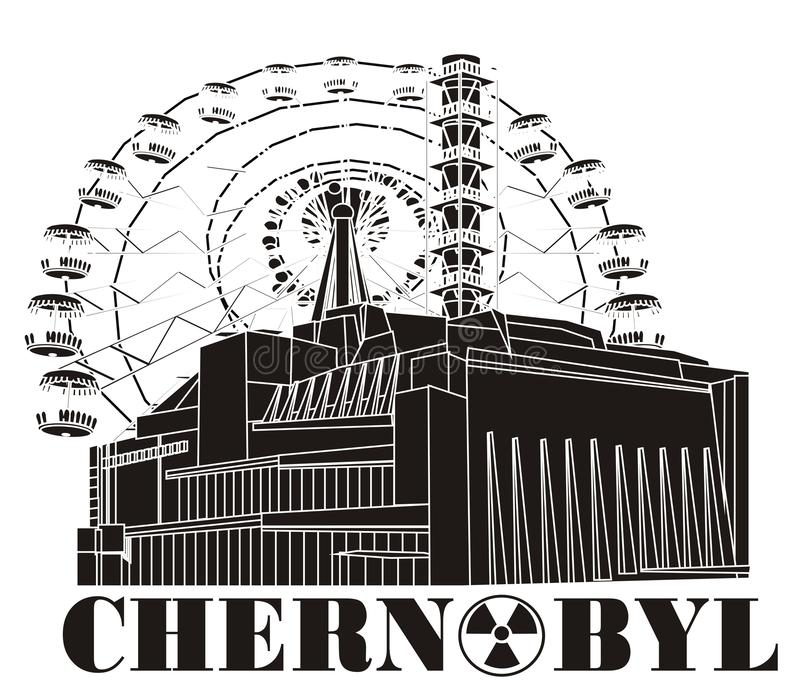 Μην χρωματισμένοι πυρηνικός σταθμός και αντικείμενα διανυσματική απεικόνιση