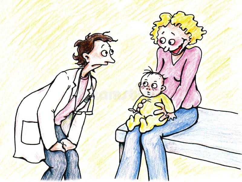 μητέρα γιατρών μωρών διανυσματική απεικόνιση