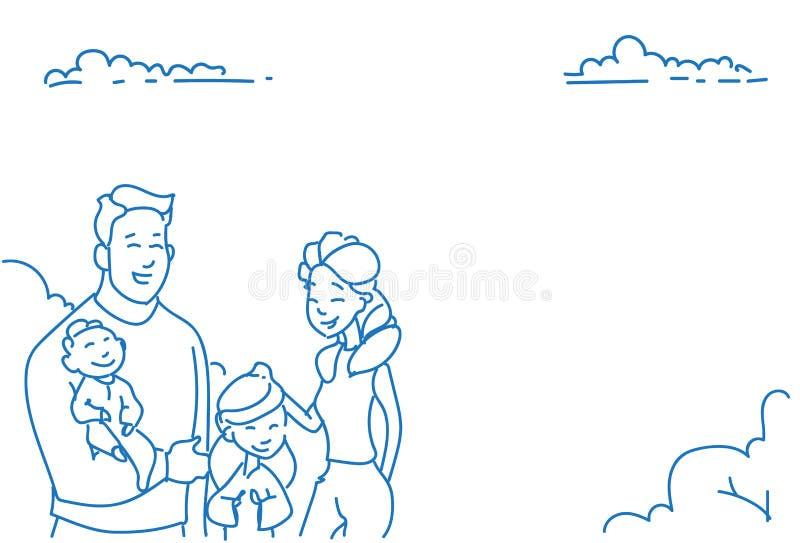 Μητέρα δύο πατέρων παιδιών μωρών γιων συρμένο χέρι πορτρέτο σκίτσων οικογενειακής έννοιας κορών ευτυχές doodle οριζόντιο ελεύθερη απεικόνιση δικαιώματος
