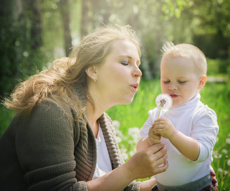 Μητέρα και γιος που φυσούν σε μια πικραλίδα στοκ εικόνες