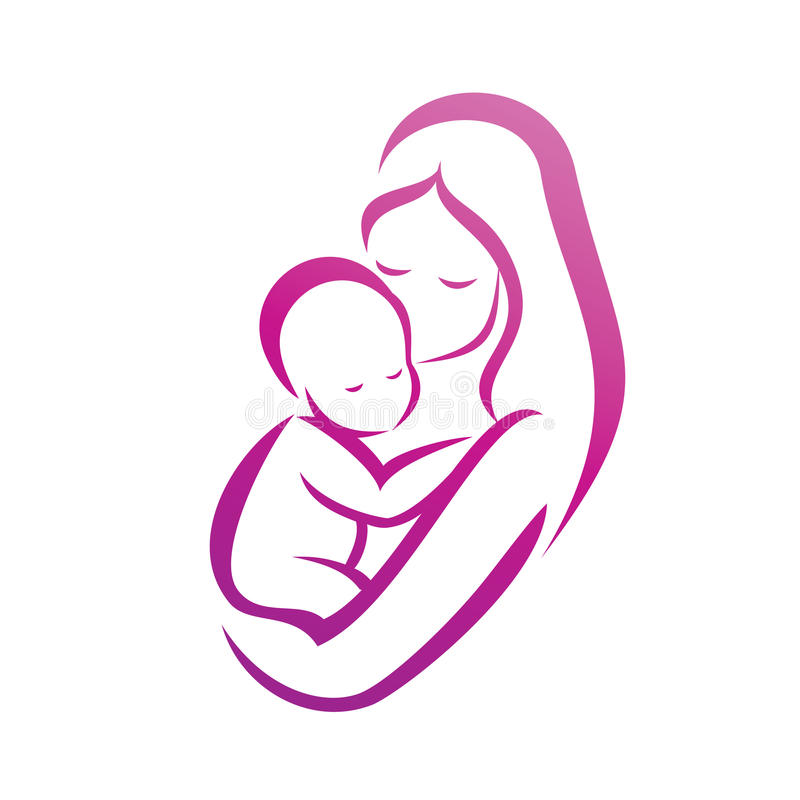 Μητέρα και η σκιαγραφία μωρών της διανυσματική απεικόνιση