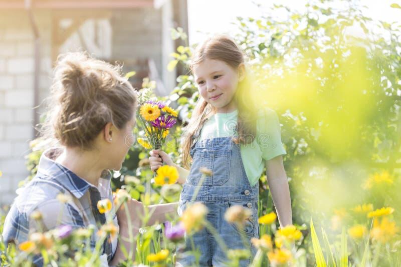 Μητέρα και κόρη με τα λουλούδια που καλλιεργούν στο αγρόκτημα στοκ φωτογραφία με δικαίωμα ελεύθερης χρήσης