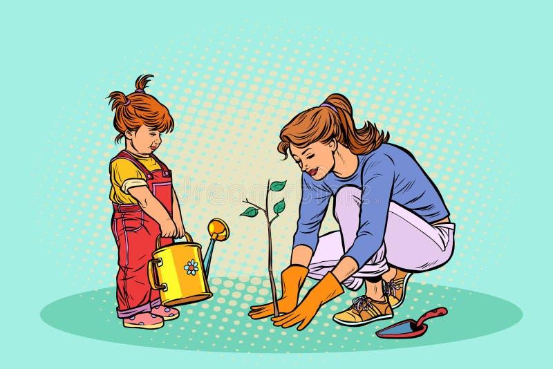 Μητέρα και κόρη που εργάζονται στον κήπο, που φυτεύει ένα σπορόφυτο απεικόνιση αποθεμάτων