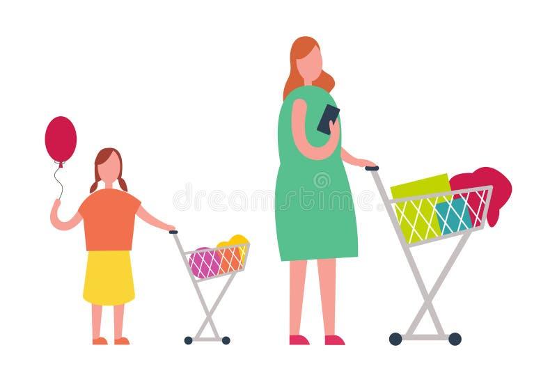 Μητέρα και κόρη που κάνουν την απεικόνιση αγορών διανυσματική απεικόνιση