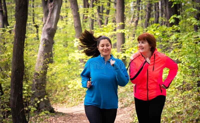 Μητέρα και κόρη που φορούν sportswear και που τρέχουν στο δάσος στοκ εικόνες