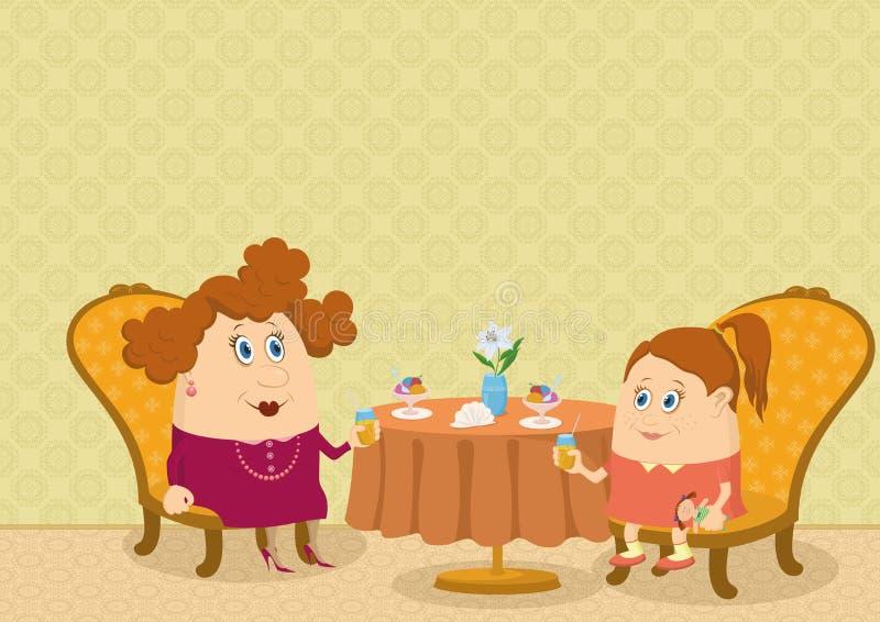 Μητέρα και κόρη στο εστιατόριο απεικόνιση αποθεμάτων