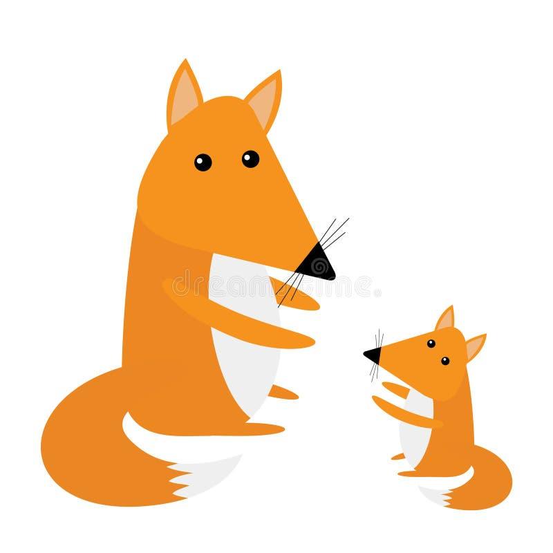 Μητέρα και μωρό αλεπούδων Χαριτωμένος χαρακτήρας κινουμένων σχεδίων - σύνολο Δασική ζωική συλλογή Άσπρη ανασκόπηση απομονωμένος Ε ελεύθερη απεικόνιση δικαιώματος