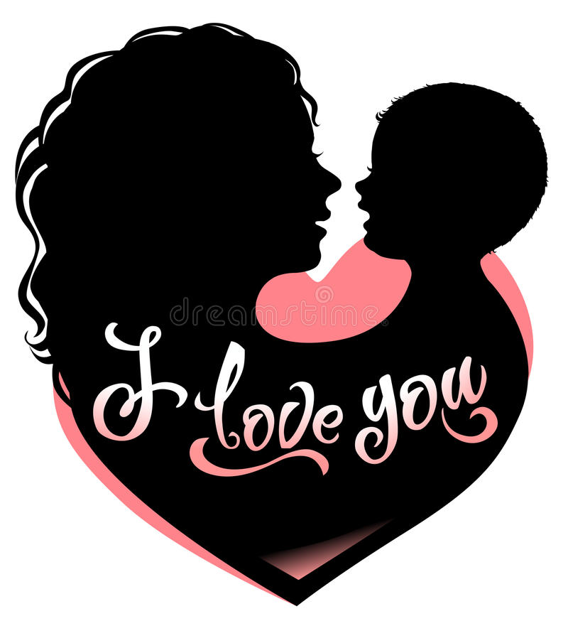 Μητέρα και μωρό σκιαγραφιών με την καρδιά και την εγγραφή σ' αγαπώ απεικόνιση αποθεμάτων