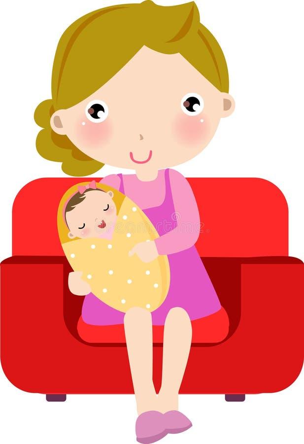 Μητέρα και μωρό ελεύθερη απεικόνιση δικαιώματος