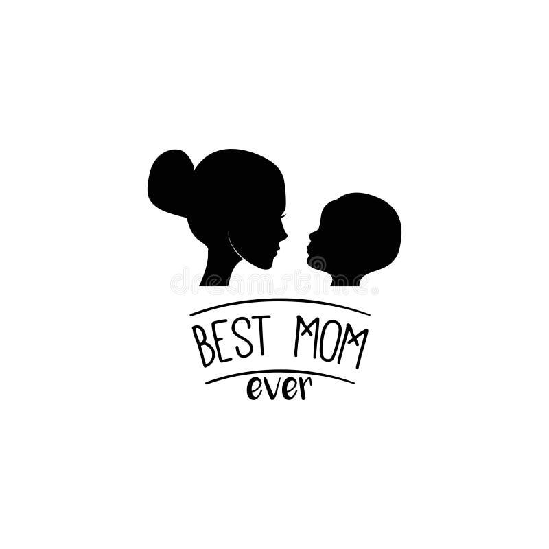 Μητέρα και οι σκιαγραφίες παιδιών της μητέρα s ημέρας καρτών Καλύτερη επιγραφή mom πάντα διάνυσμα ελεύθερη απεικόνιση δικαιώματος