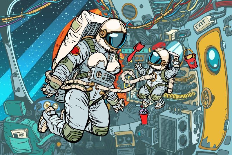 Μητέρα και παιδί σε ένα διαστημόπλοιο διανυσματική απεικόνιση