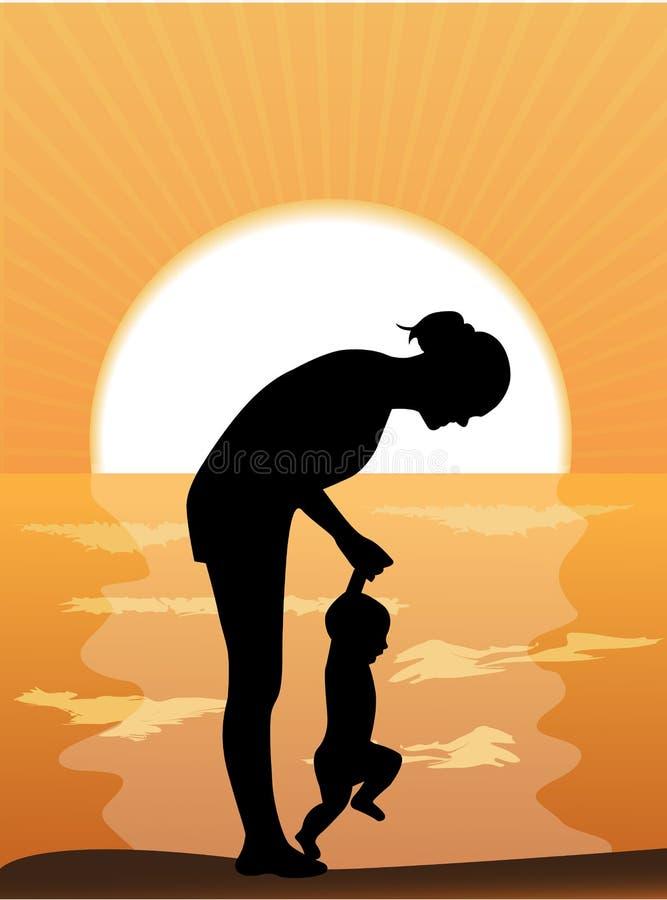 Μητέρα και παιδί στο ηλιοβασίλεμα διανυσματική απεικόνιση
