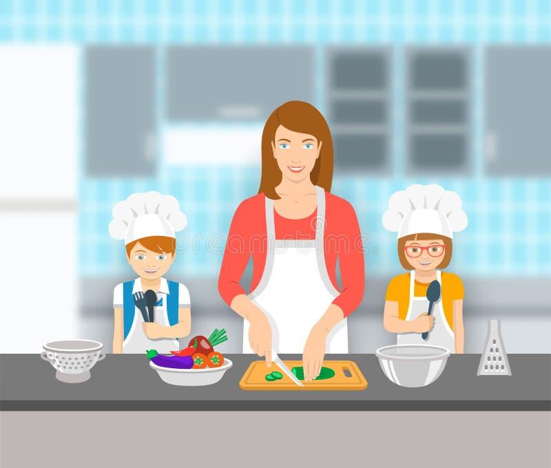 Μητέρα και παιδιά που μαγειρεύουν μαζί στην κουζίνα την επίπεδη απεικόνιση ελεύθερη απεικόνιση δικαιώματος