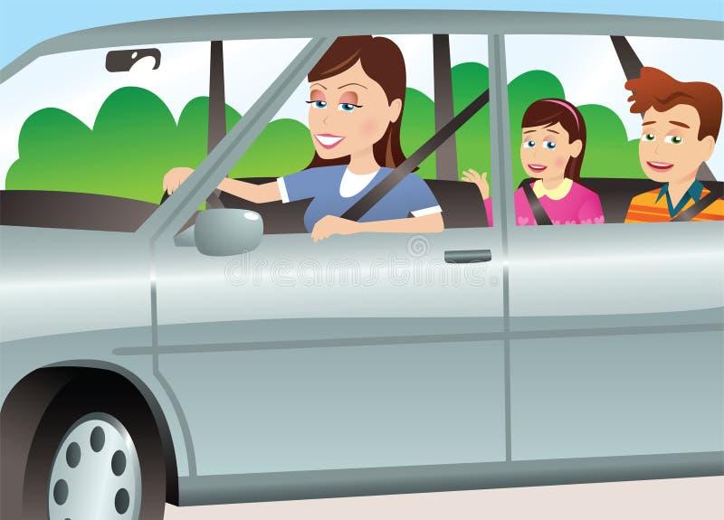 Μητέρα και παιδιά στο αυτοκίνητο ελεύθερη απεικόνιση δικαιώματος