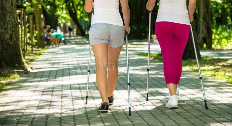 Μητέρα και doughter σκανδιναβικό περπάτημα στοκ φωτογραφία