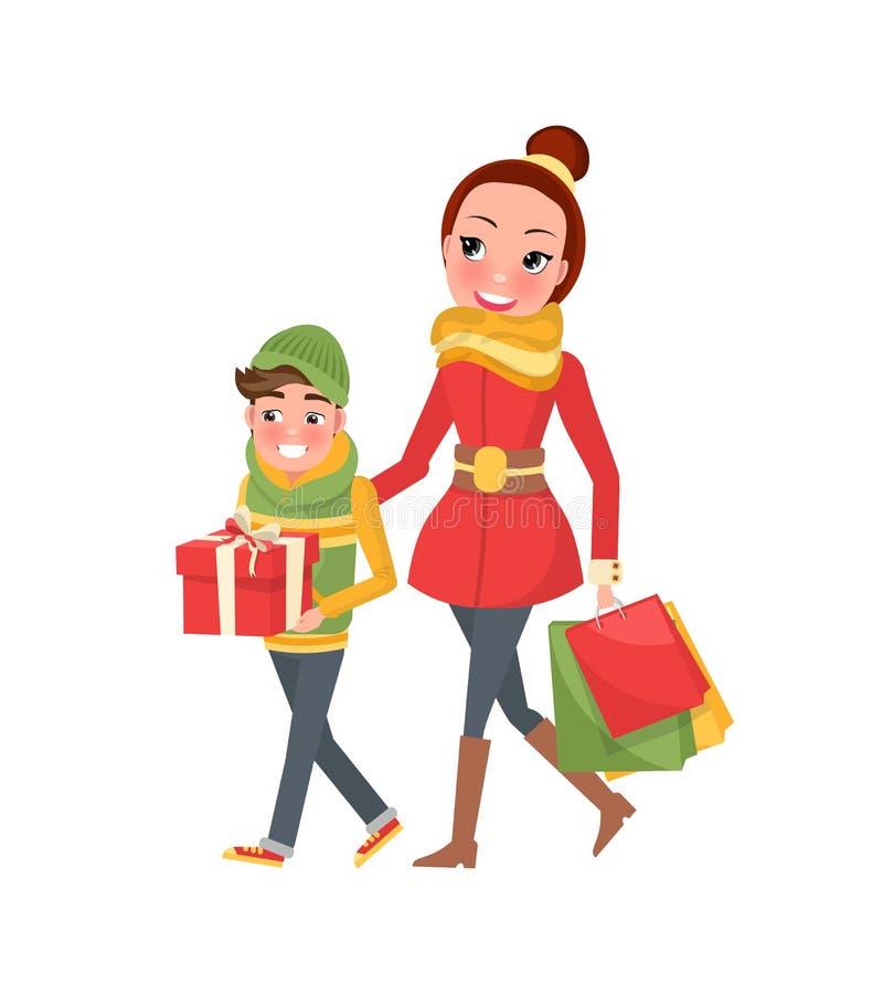 Μητέρα και Son Do Shopping Together Mom και αγόρι απεικόνιση αποθεμάτων